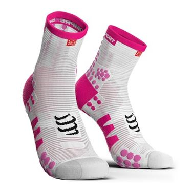 Picture of COMPRESSPORT - PRO RACING RUN SOCK HIGH CUT V3.0 WHITE/ PINK