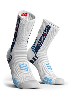 Picture of COMPRESSPORT - PRO RACING BIKE SOCK V3.0 WHITE/ BLUE